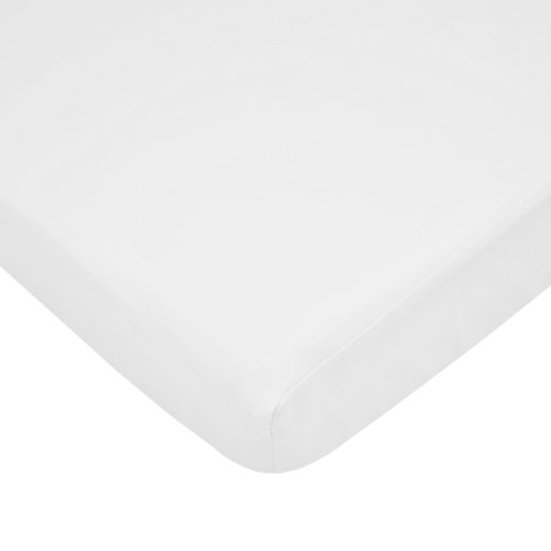 (American Baby Company Fitted Portable/Mini Crib Sheet, 100% Natural Cotton Percale, White, Soft Breathable, for Boys and Girls)