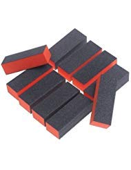 Onwon 10PC Nail Art Care Buffer Buffing Sanding Block Files 4 Way Polish Block Nail Files Art Pedicure Manicure Tips(Black Red)