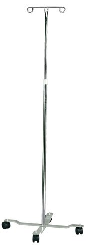 MABIS Adjustable Height I.V. Pole, 4 Two-Wheel Casters and 2 Prongs, Height Adjustable from 47 to 82 Inches, Silver by Mabis