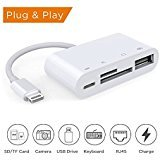 Lightning to SD Card Reader, Lightning to USB Camera Adapter, Trail Game Camera Card Viewer Reader for iPad mini Air Pro and iPhone X/8/8plus/7/7plus/6/6s/6plus/6s (Ipod Camera Dock)