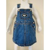 (NFL Officially Licensed New York Jets Bib Overall Jean Skirt Dress (3T))