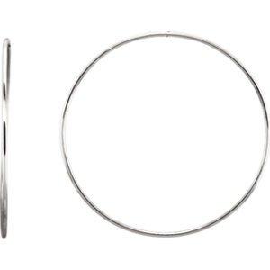 Argent sterling 69mm Endless Créoles Tube Boucles d'oreilles