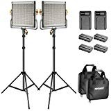 Neewer Bi-Color LED 480 Video Light and Stand Kit with Battery and Charger for Studio, YouTube Video Shooting, Durable Metal Frame, Dimmable with U Bracket, 3200-5600K, CRI 96+ (2 Pack) -
