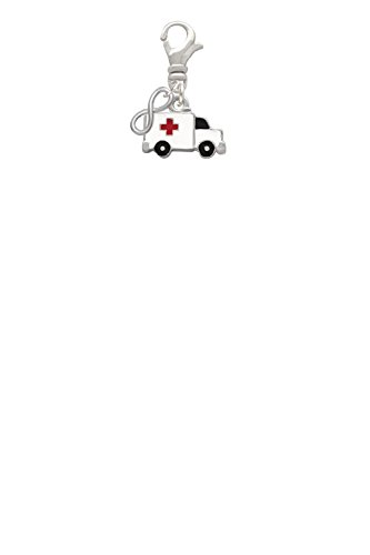 Ambulance with Cross Mini Infinity Clip On Charm