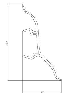 40m SOCKELLEISTEN 52mm KIEFER GEBLEICHT Fussleisten aus Kunststoff PVC Laminat Dekore