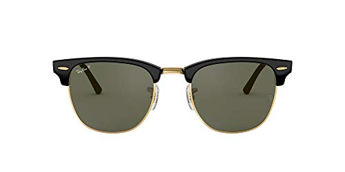 Ray-Ban RB3016 Clubmaster Square Sunglasses, Black/Polarized Green, 49 mm (Ray Bans Cheap)