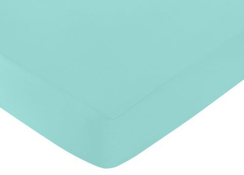 Sweet Jojo Designs Fitted Crib Sheet for Skylar Baby/Toddler Bedding - Solid Turquoise ()