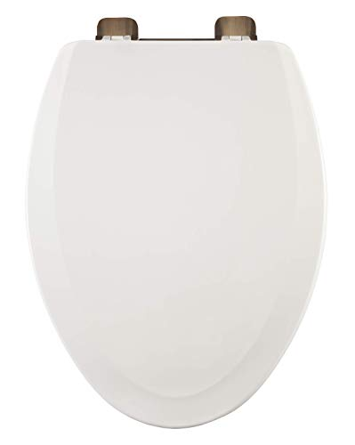 Centoco 900RO-001 Elongated Wooden Toilet Seat, Heavy Duty Molded Wood with Centocore Technology, White with Oil Rubbed Hinge
