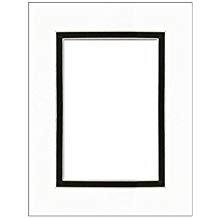 PA Framing Double Photo Mat Board, Pre-cut Framing Mat - White Core, Black/Black, 8