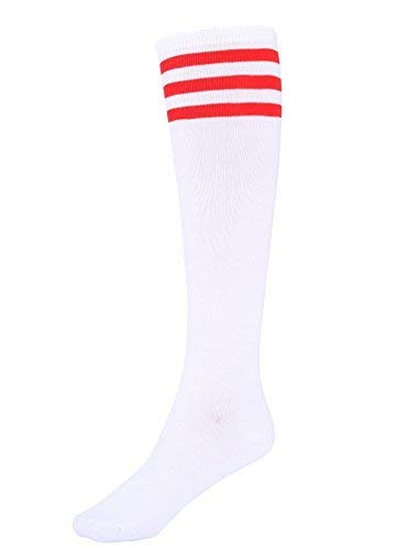 Mystylees Women's Knee High Striped Socks White with Three Red Stripes, White With Three Red Stripes, One Size]()