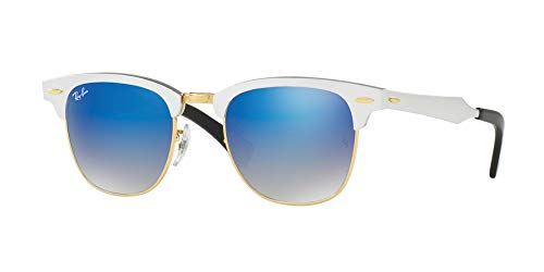 Ray-Ban Clubmaster Aluminum Sunglasses (RB3507) Silver/Blue Metal,Aluminum - Non-Polarized - ()