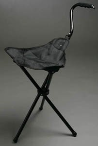 Portable Walking Chair (Cane / Stool) from The Stadium Chair Company,Black - Folding Cane Stool