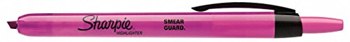 Sharpie 28029 Highlighter, Retractable, Pink, PK12