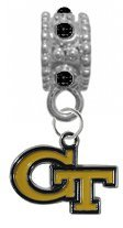 Georgia Tech Yellow Jackets BLACK Rhinestone/Gem Charm with Connector - Universal European Slide On Charm - ''Classic & Original Style'' Perfect For Bracelets, Necklaces, & DIY Jewelry by CustomCharms