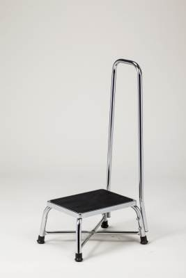 MediChoice Step Stool w/Handrail, 600 Lb Capacity, Steel, Bariatric, 14.25 x 9 x 11.25in, Chrome Finish- 1478BAR300H (1 Each)