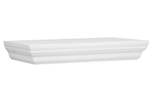 Halter Single Rectangular Floating Shelf - Pristine White Finish, Sturdy & Highly Durable Construction. Easy Installation. Hardware & Screws Included. Holds 10 lbs. (5 kg) (12'' x 1.75'' x 7.5'')