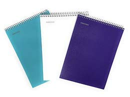 Mintra Office Top Bound Durable Spiral Notebooks, Stiff Back, 100 Sheets, Moisture Resistant Cover, School, Office, Business, Professional (Teal, Purple, White, College Ruled 3pk) (Five Star Notebook Top Bound)
