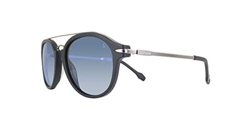 GianFranco Ferre Unisex Round Sunglasses Blue Polarized Lens Black Frame ()