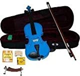 Merano MV300DBL 1/4 Size Blue Violin with Case and Bow+Extra Set of String, Extra Bridge, Rosin
