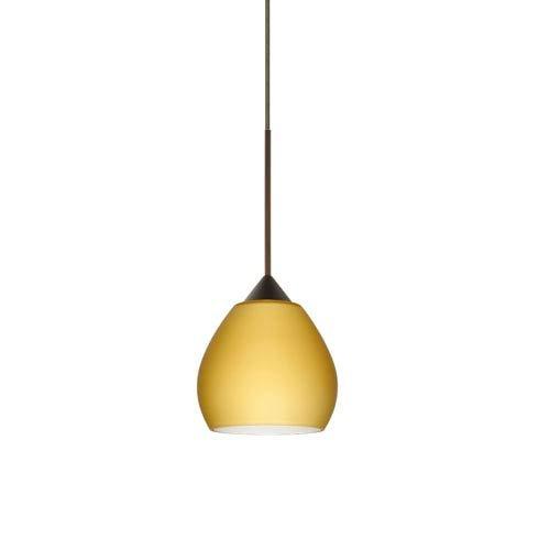 Besa Lighting 1XT-5605VM-BR Tay Tay Pendant with Vanilla Matte Glass, Bronze Finish