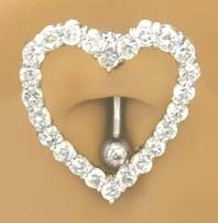 Clear Cz Open Heart Around Belly Reverse Top Mount Belly Button Navel Ring 14 Gauge