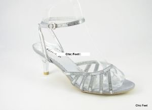 Chic Feet Bn Silver Low Heel Sequin Wedding / Prom Shoes Size 3