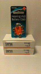 Size 13 Premium Hearing Aid Batteries: Orange Tab: 42 Pack : Mercury Free