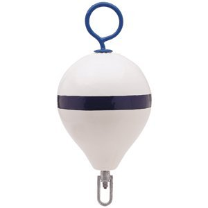 (Polyform Mooring Buoy w/Iron 13.5 Diameter - White Blue Stripe)