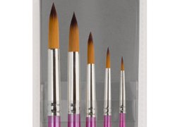 (Creative Inspirations Dura-HandleArtist Paint Brushes Long Solid Resin Handle Resists Chips & Cracks - Round [Set of 5])