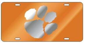 Clemson Tigers Orange Mirrored Car Tag License Plate