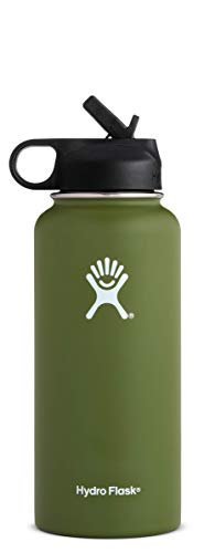 Olive Piping - Hydro Flask 32 oz Water Bottle | Stainless Steel & Vacuum Insulated | Wide Mouth with Straw Lid | Olive