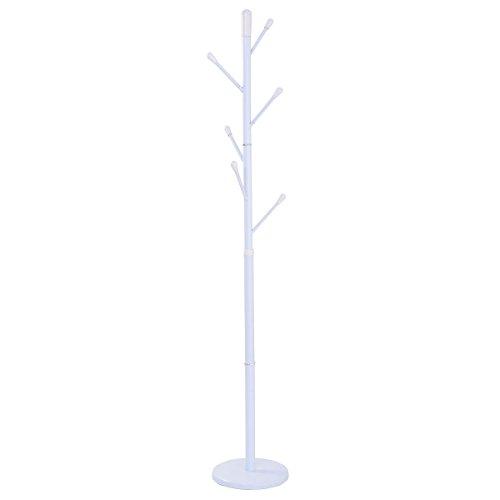 Coat Rack Metal Hat Tree Stand Clothes Holder Umbrella Bag Hanger Hall White