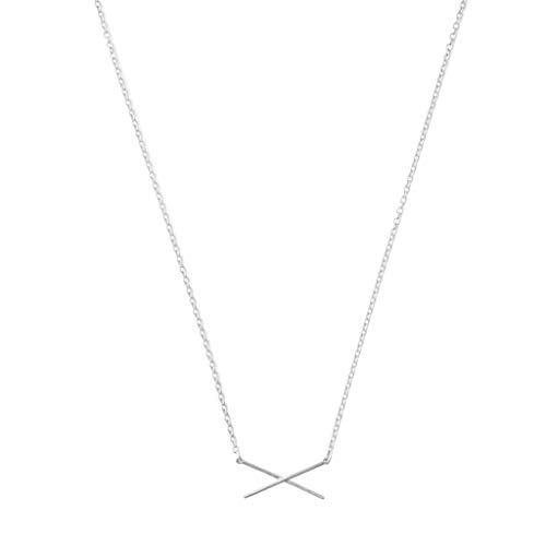 HONEYCAT X Bar Necklace in Gold, Rose Gold, or Silver   Minimalist, Delicate Jewelry (Silver) ()