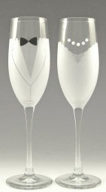 Bride And Groom Champagne Wedding Toasting Glasses Set With Swarovski Crystal Etched Glass
