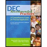DEC Recommended Practices : A Comprehensive Guide for Practical Application in Early Intervention/Early Childhood Special Education, Sandall, Susan and Hemmeter, Mary Louise, 0977377229