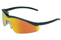 (Crews T111R Triwear Safety Glasses With Onyx Nylon Frame, Fire Mirror Polycarbonate Duramass Anti-Scratch Lens And Carrying Case And Breakaway Cord And Black Temple Sleeve (1/EA))
