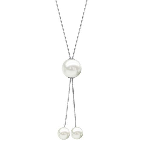 (FAMARINE Silver Long Necklace, Pearls Bar Y Lariat Necklace Silver Tone for Women Birthday)