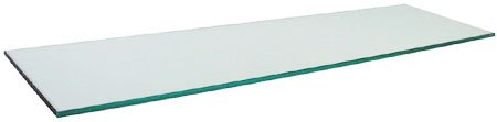 "10"" x 30"" Rectangle 3/8"" Tempered Clear Glass Shelf"