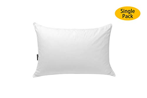 JA COMFORTS Duck Feather and Down Bed Pillows for Sleeping(Single Pack)- Standard/Queen(20IN×28IN), Hotel Collection, Natural Filling, Natural Cotton Cover, White
