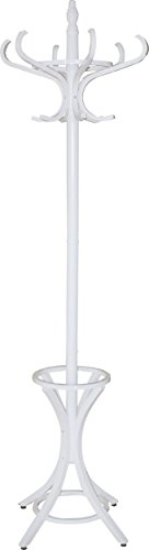 - Headbourne 8001 Floor Standing Hat and Coat Rack with Umbrella Stand, Wood with White Paint Finish
