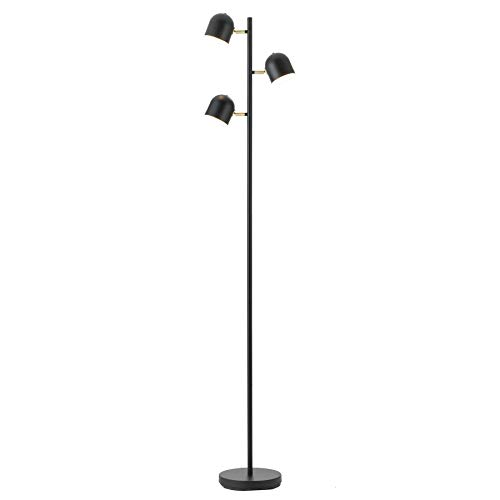 CO-Z LED Floor Lamp, 3 Light Tree Torchiere Floor Lamp for Living Room Bedroom Home Office, Industrial Modern Black Bright Task Standing Reading Light with 3 Adjustable Heads