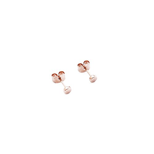 HONEYCAT Tiny Circle Stud Earrings in 18k Rose Gold Plate | Minimalist, Delicate Jewelry (Rose Gold)
