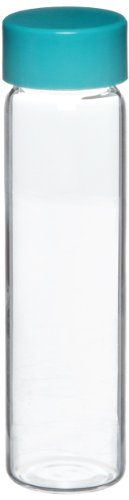 - Qorpak GLC-00980 Borosilicate Glass 4mL Clear Type I Screw Thread Vial, with Green Thermoset F217 and PTFE Lined Cap Attached, 15mm Diameter x 45mm Height (Case of 144)