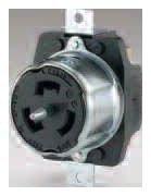 CS6369 125/250VAC 50A 3P4W Steel Black Back Wired Grounding Non-NEMA California Style Locking Receptacle