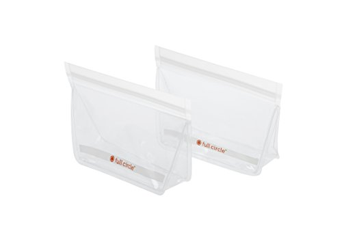 Circle Pattern Full (Full Circle ZipTuck 2 Snack Size Reusable Bags, Clear)