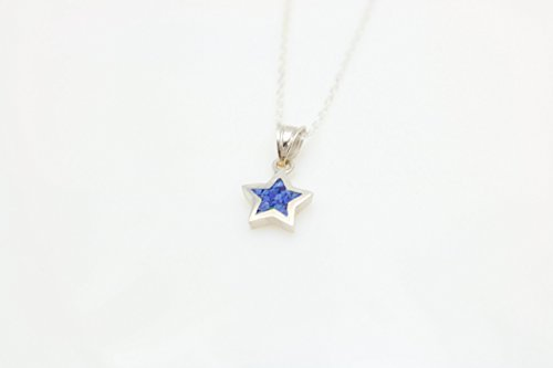 Star-shaped Lapis Lazuli Gemstone Mosaic Sterling Silver Necklace 16.1'' to 17.7 inches, Adjustable Chain, Semi Precious Stone from Handmade Studio