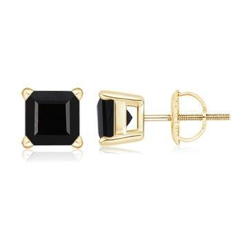 Basket-Set Square Black Onyx Stud Earrings in 14K Yellow Gold (6.7mm Black Onyx)