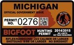 "Michigan Bigfoot Hunting Permit 2.4"" x 4"" Decal Sticker"