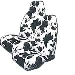 Set of 2 Universal-Fit Animal Print Front Bucket SUV Truck Seat Cover w/ Arm Rest Opening - Cow (Cow Seat Covers)