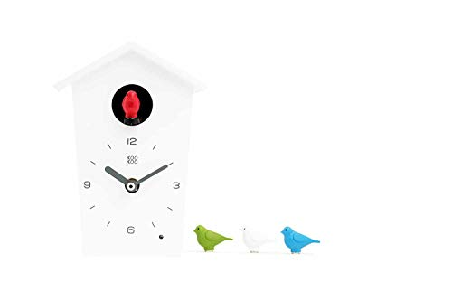 (KOOKOO Birdhouse Mini White, Tiny Modern Cuckoo Clock w. 12 Natural Bird Voices or Cuckoo Call, Design Clock, Natural Field Recordings by Jean-Claude Roché;)